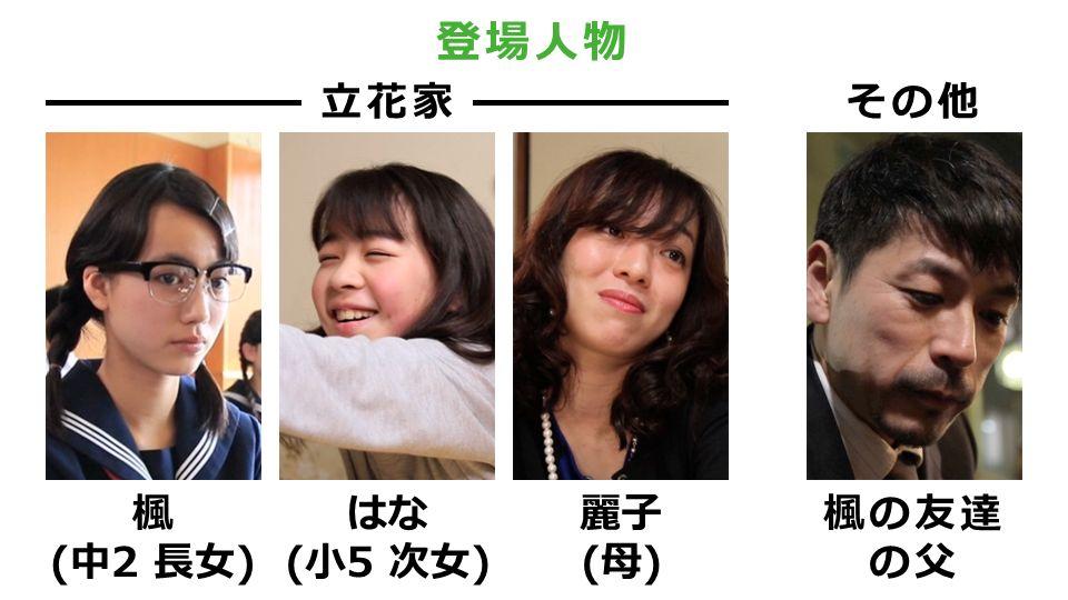 登場人物 立花家 楓 (中2 長女) はな (小5 次女) 麗子 (母) 楓の友達 の父 その他