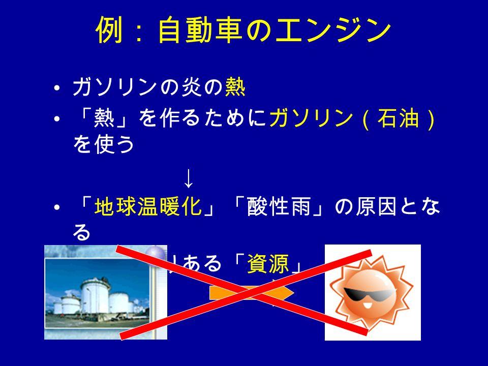例:自動車のエンジン ガソリンの炎の熱 「熱」を作るためにガソリン(石油) を使う ↓ 「地球温暖化」「酸性雨」の原因とな る 石油は限りある「資源」
