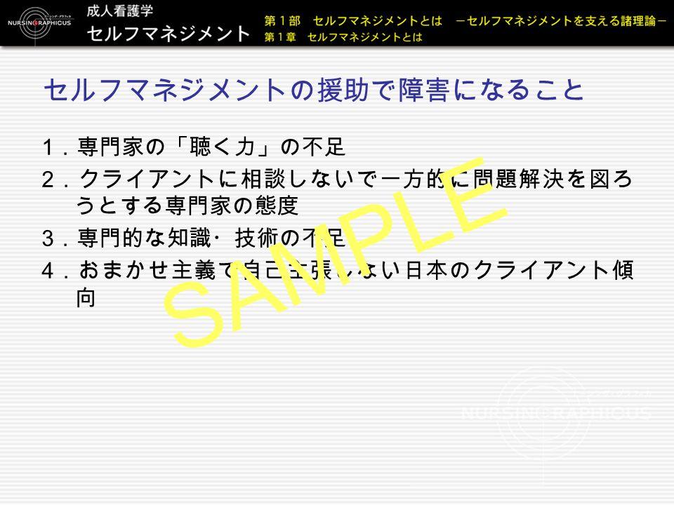 セルフマネジメントの援助で障害になること 1 .専門家の「聴く力」の不足 2 .クライアントに相談しないで一方的に問題解決を図ろ うとする専門家の態度 3 .専門的な知識・技術の不足 4 .おまかせ主義で自己主張しない日本のクライアント傾 向 SAMPLE