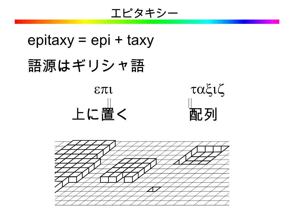 エピタキシー epitaxy = epi + taxy 語源はギリシャ語   上に置く 配列