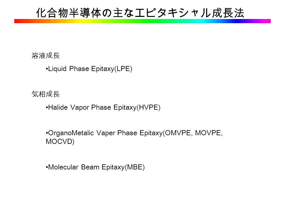 化合物半導体の主なエピタキシャル成長法 溶液成長 Liquid Phase Epitaxy(LPE) 気相成長 Halide Vapor Phase Epitaxy(HVPE) OrganoMetalic Vaper Phase Epitaxy(OMVPE, MOVPE, MOCVD) Molecular Beam Epitaxy(MBE)