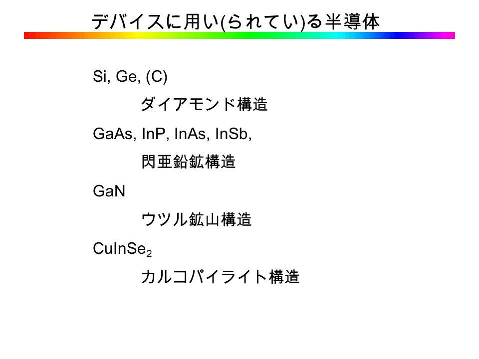 デバイスに用い ( られてい ) る半導体 Si, Ge, (C) ダイアモンド構造 GaAs, InP, InAs, InSb, 閃亜鉛鉱構造 GaN ウツル鉱山構造 CuInSe 2 カルコパイライト構造