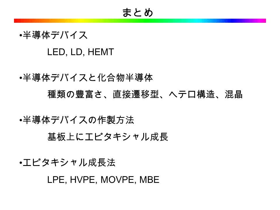 まとめ 半導体デバイス LED, LD, HEMT 半導体デバイスと化合物半導体 種類の豊富さ、直接遷移型、ヘテロ構造、混晶 半導体デバイスの作製方法 基板上にエピタキシャル成長 エピタキシャル成長法 LPE, HVPE, MOVPE, MBE