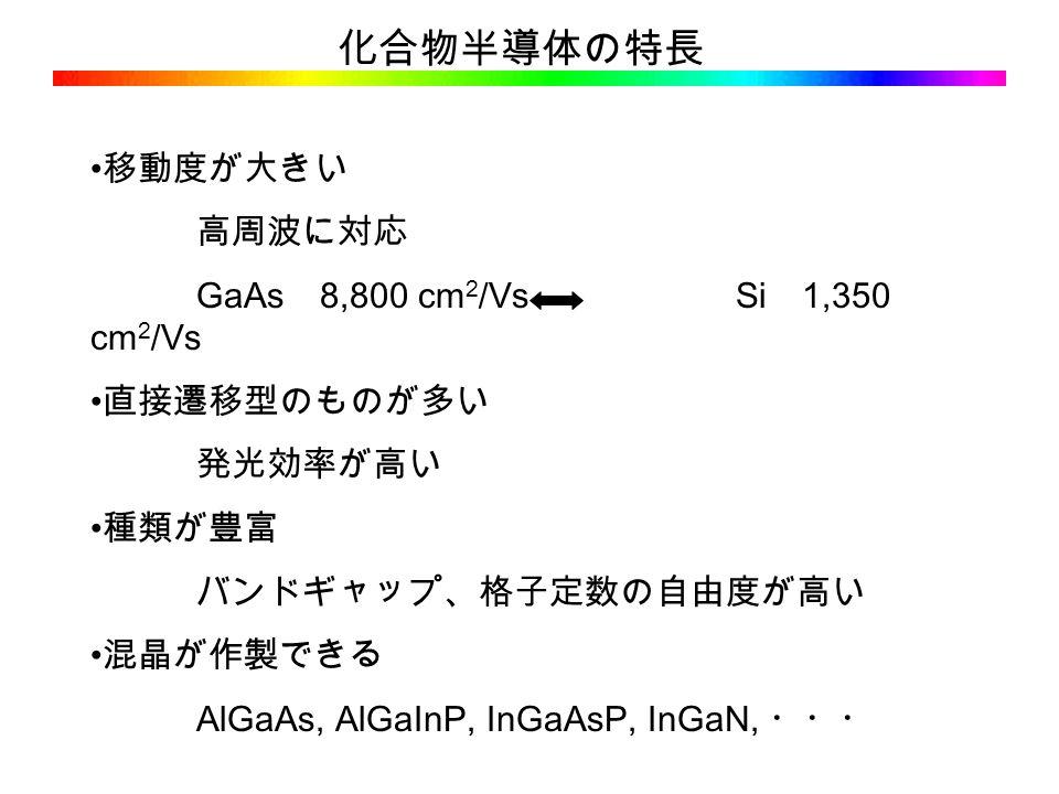 化合物半導体の特長 移動度が大きい 高周波に対応 GaAs 8,800 cm 2 /Vs Si 1,350 cm 2 /Vs 直接遷移型のものが多い 発光効率が高い 種類が豊富 バンドギャップ、格子定数の自由度が高い 混晶が作製できる AlGaAs, AlGaInP, InGaAsP, InGaN, ・・・