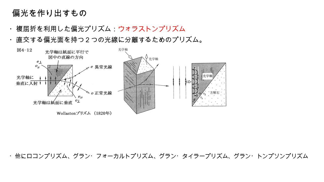 偏光を作り出すもの ・複屈折を利用した偏光プリズム:ウォラストンプリズム ・直交する偏光面を持つ2つの光線に分離するためのプリズム。 ・他にロコンプリズム、グラン・フォーカルトプリズム、グラン・タイラープリズム、グラン・トンプソンプリズム