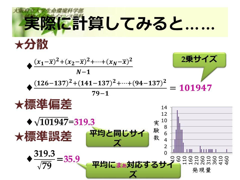 実際に計算してみると …… 2 乗サイズ 平均と同じサイ ズ 平均に ま あ 対応するサイ ズ