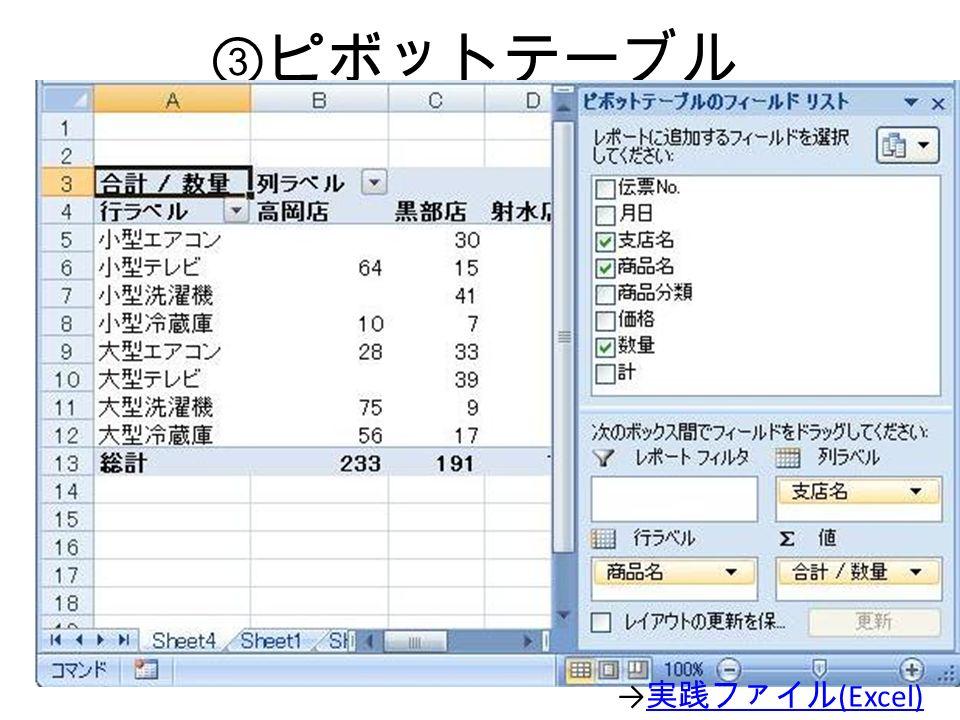③ ピボットテーブル → 実践ファイル (Excel) 実践ファイル (Excel)