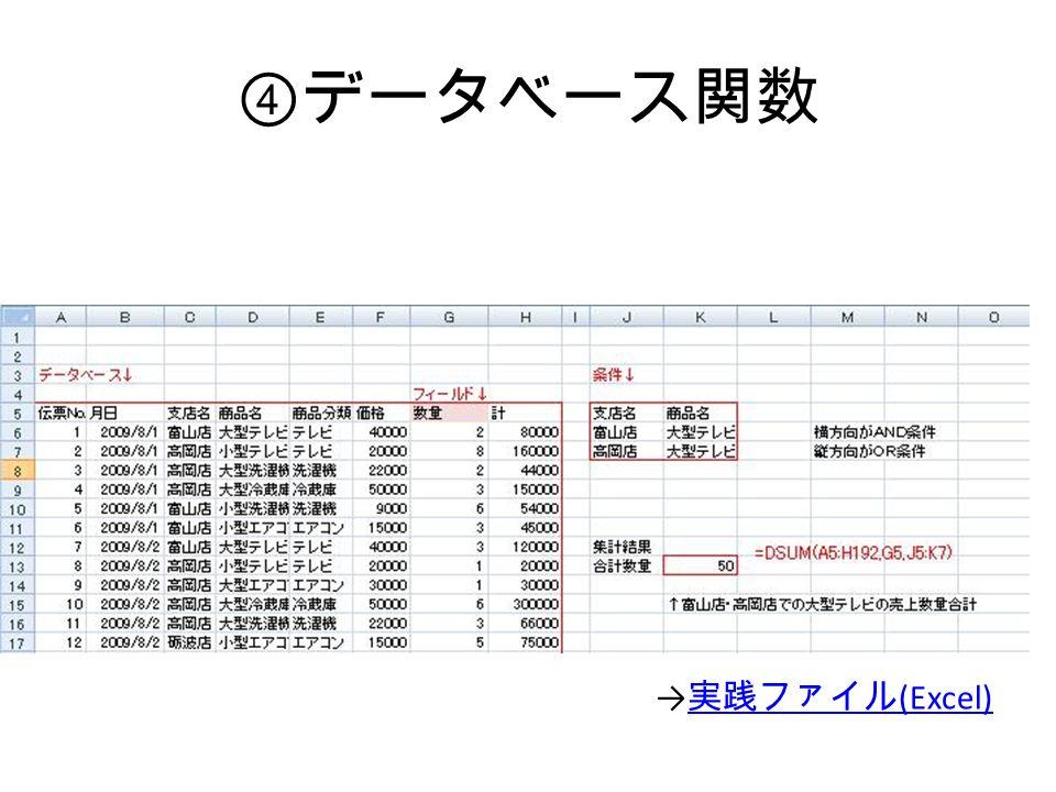 ④ データベース関数 → 実践ファイル (Excel) 実践ファイル (Excel)