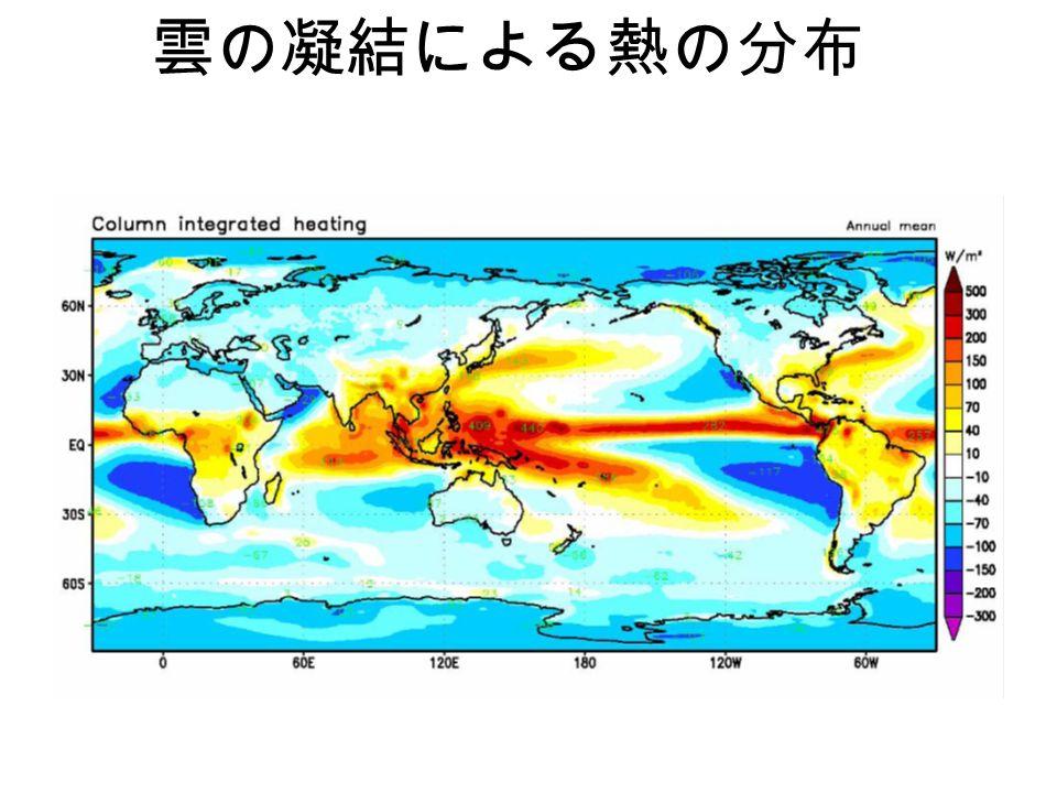雲の凝結による熱の分布