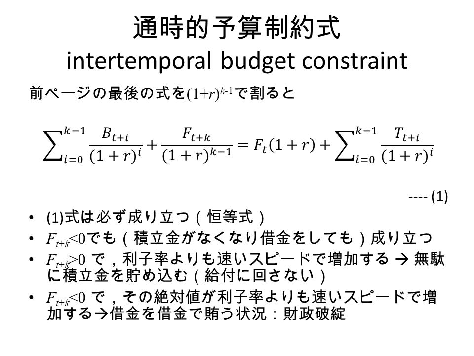 通時的予算制約式 intertemporal budget constraint