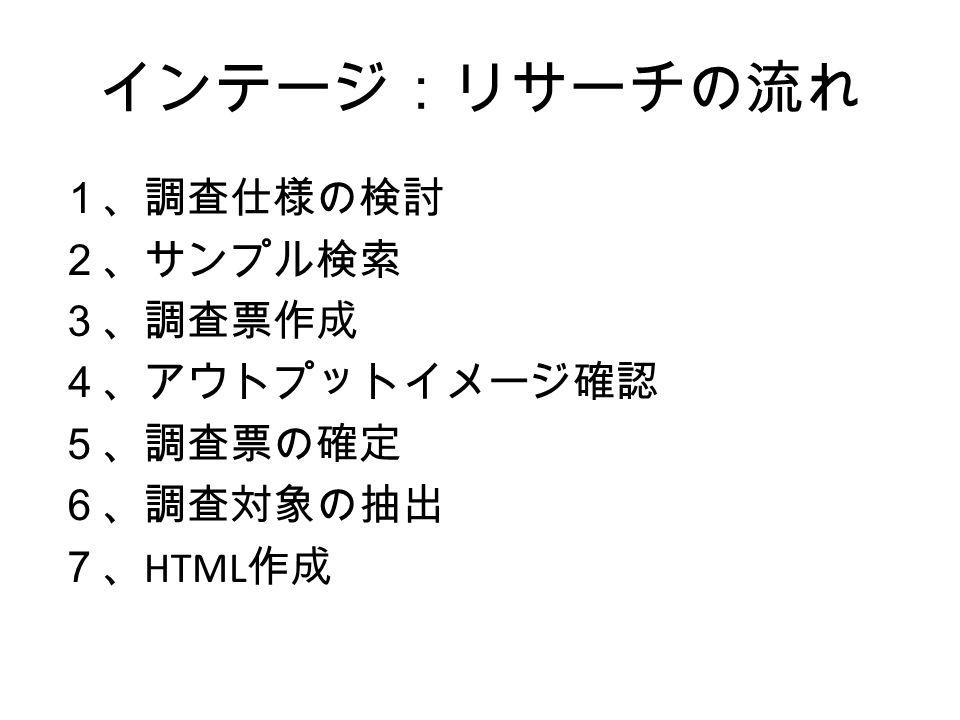 インテージ:リサーチの流れ 1、調査仕様の検討 2、サンプル検索 3、調査票作成 4、アウトプットイメージ確認 5、調査票の確定 6、調査対象の抽出 7、 HTML 作成