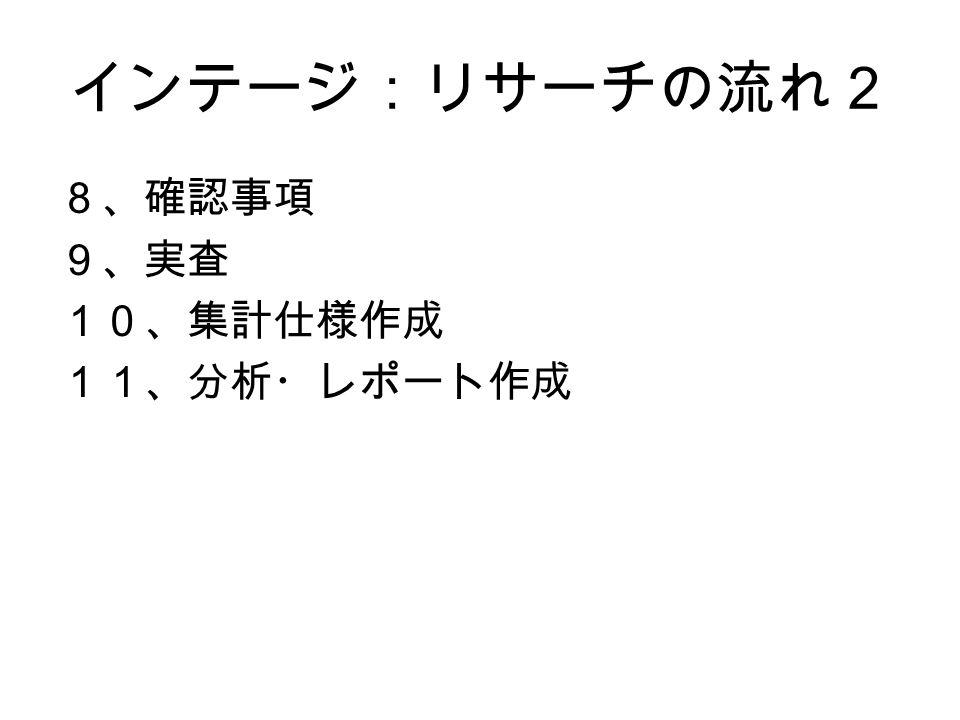 インテージ:リサーチの流れ2 8、確認事項 9、実査 10、集計仕様作成 11、分析・レポート作成