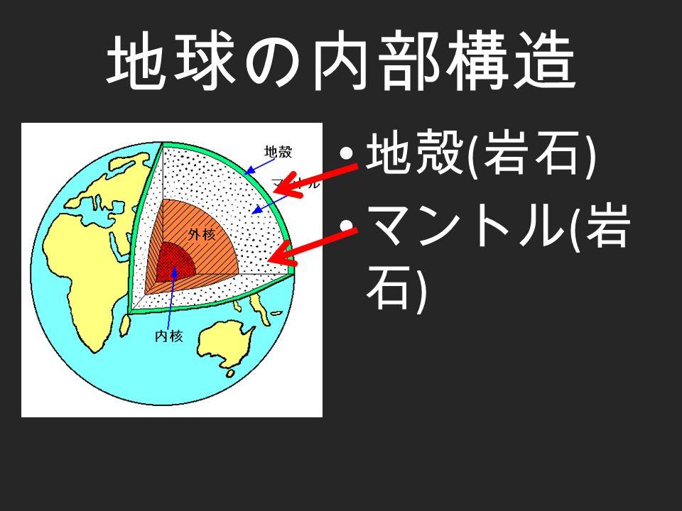 地球の内部構造 地殻 ( 岩石 ) マントル ( 岩 石 )