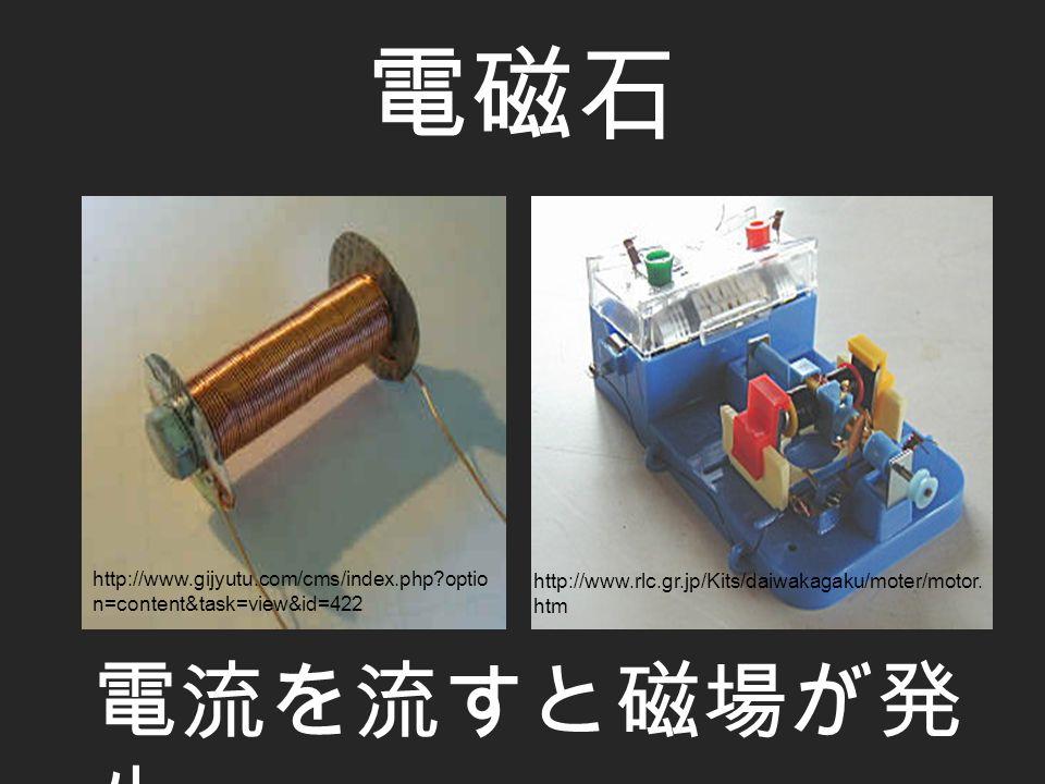電磁石 電流を流すと磁場が発 生 http://www.rlc.gr.jp/Kits/daiwakagaku/moter/motor.