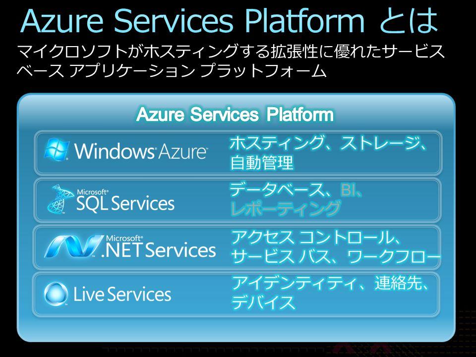 マイクロソフトがホスティングする拡張性に優れたサービス ベース アプリケーション プラットフォーム
