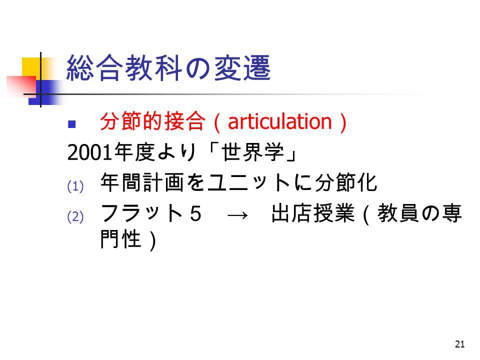 21 総合教科の変遷 分節的接合( articulation ) 2001 年度より「世界学」 (1) 年間計画をユニットに分節化 (2) フラット5 → 出店授業(教員の専 門性)