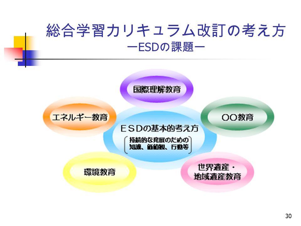 30 総合学習カリキュラム改訂の考え方 ー ESD の課題ー