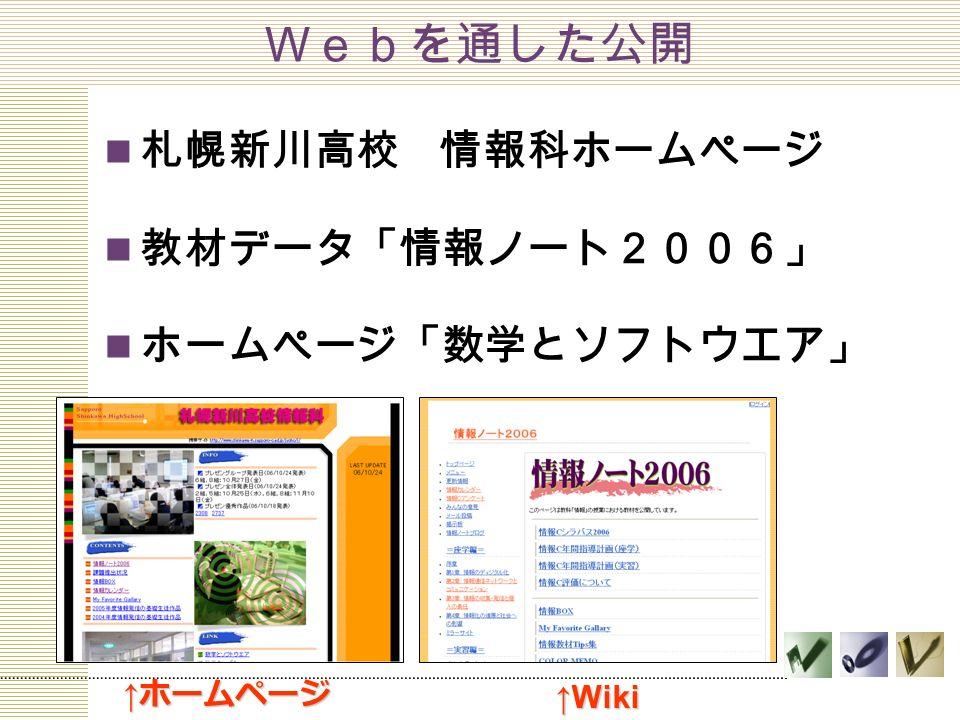 Webを通した公開 札幌新川高校 情報科ホームページ 教材データ「情報ノート2006」 ホームページ「数学とソフトウエア」 ↑ ホームページ ↑Wiki