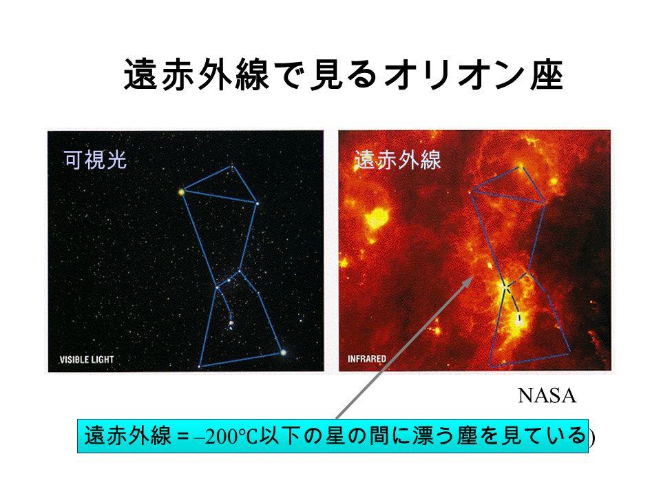遠赤外線で見るオリオン座 遠赤外線= –200 ℃以下の星の間に漂う塵を見ている ) NASA 可視光遠赤外線