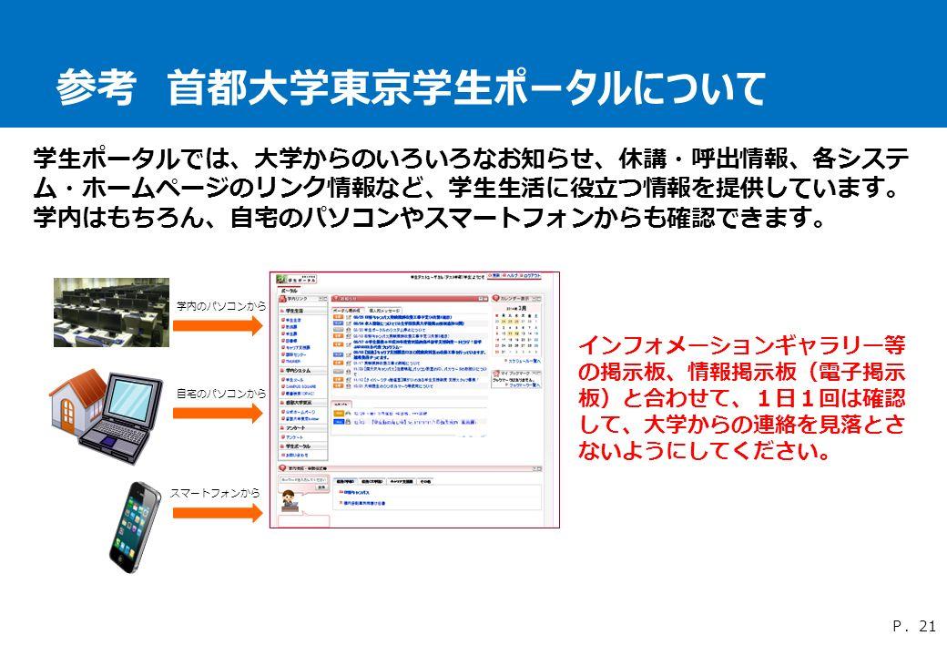 参考 首都大学東京学生ポータルについて 学生ポータルでは、大学からのいろいろなお知らせ、休講・呼出情報、各システ ム・ホームページのリンク情報など、学生生活に役立つ情報を提供しています。 学内はもちろん、自宅のパソコンやスマートフォンからも確認できます。 P.21 スマートフォンから 自宅のパソコンから 学内のパソコンから インフォメーションギャラリー等 の掲示板、情報掲示板(電子掲示 板)と合わせて、1日1回は確認 して、大学からの連絡を見落とさ ないようにしてください。