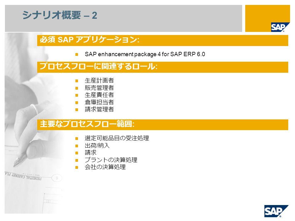 シナリオ概要 – 2 SAP enhancement package 4 for SAP ERP 6.0 生産計画者 販売管理者 生産責任者 倉庫担当者 請求管理者 選定可能品目の受注処理 出荷 / 納入 請求 プラントの決算処理 会社の決算処理 必須 SAP アプリケーション : プロセスフローに関連するロール : 主要なプロセスフロー範囲 :