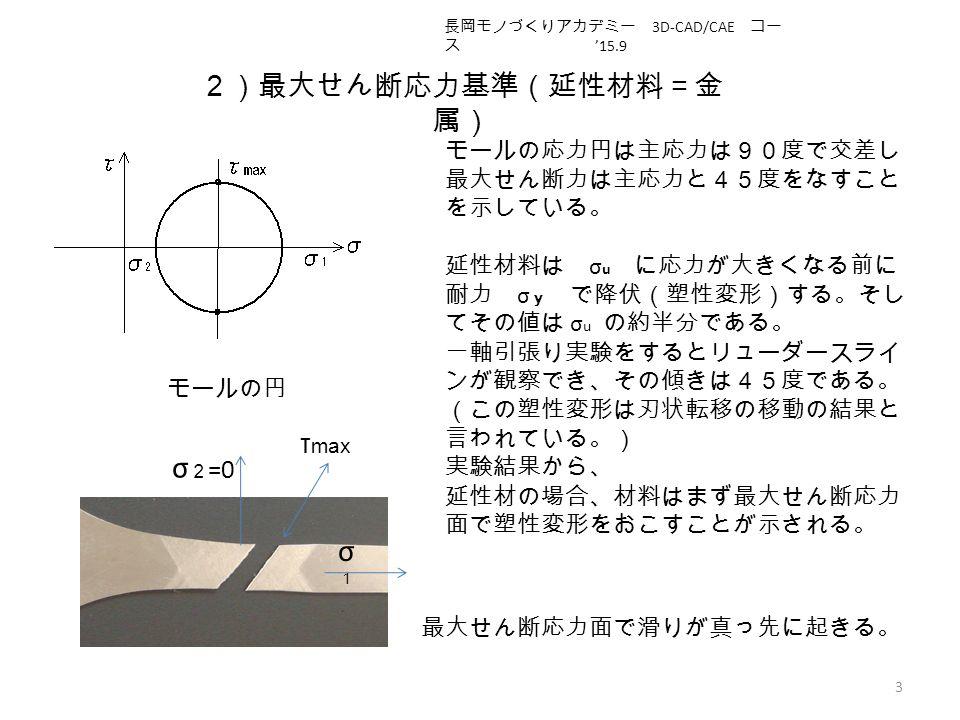 2)最大せん断応力基準(延性材料=金 属) 3 モールの円 モールの応力円は主応力は90度で交差し 最大せん断力は主応力と45度をなすこと を示している。 延性材料は σ u に応力が大きくなる前に 耐力 σ y で降伏(塑性変形)する。そし てその値は σ u の約半分である。 一軸引張り実験をするとリューダースライ ンが観察でき、その傾きは45度である。 (この塑性変形は刃状転移の移動の結果と 言われている。) 実験結果から、 延性材の場合、材料はまず最大せん断応力 面で塑性変形をおこすことが示される。 最大せん断応力面で滑りが真っ先に起きる。 σ1σ1 σ 2 =0 τ max 長岡モノづくりアカデミー 3D-CAD/CAE コー ス '15.9