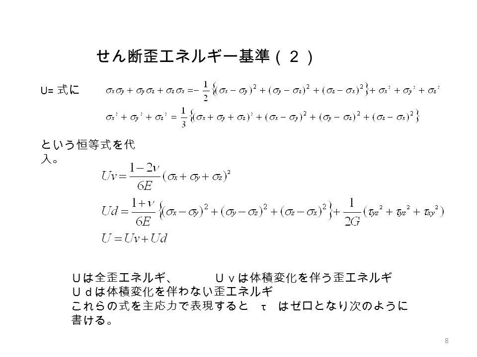 せん断歪エネルギー基準(2) U= 式に 8 という恒等式を代 入。 Uは全歪エネルギ、 Uvは体積変化を伴う歪エネルギ Udは体積変化を伴わない歪エネルギ これらの式を主応力で表現すると τ はゼロとなり次のように 書ける。