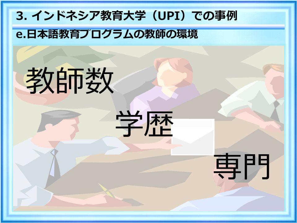 e. 日本語教育プログラムの教師の環境 教師数 学歴 専門 3. インドネシア教育大学( UPI )での事例