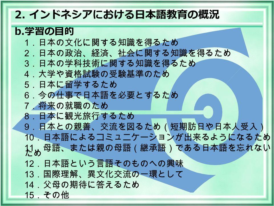 1 .日本の文化に関する知識を得るため 2 .日本の政治、経済、社会に関する知識を得るため 3 .日本の学科技術に関する知識を得るため 4 .大学や資格試験の受験基準のため 5 .日本に留学するため 6 .今の仕事で日本語を必要とするため 7 .将来の就職のため 8 .日本に観光旅行するため 9 .日本との親善、交流を図るため(短期訪日や日本人受入) 10 .日本語によるコミュニケーションが出来るようになるため 11 .母語、または親の母語(継承語)である日本語を忘れない ため 12 .日本語という言語そのものへの興味 13 .国際理解、異文化交流の一環として 14 .父母の期待に答えるため 15 .その他 b.