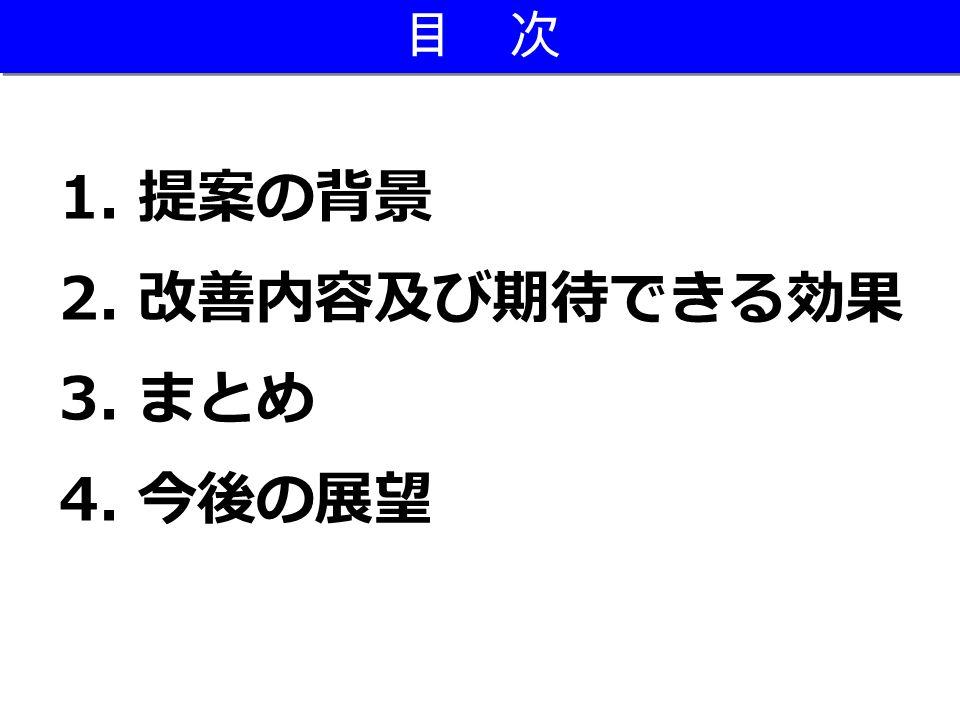 目 次 1. 提案の背景 2. 改善内容及び期待できる効果 3. まとめ 4. 今後の展望