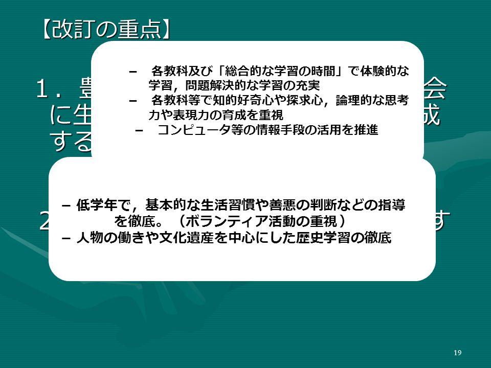 19 【改訂の重点】 1.豊かな人間性や社会性,国際社会 に生きる日本人としての自覚を育成 すること。 1.豊かな人間性や社会性,国際社会 に生きる日本人としての自覚を育成 すること。 2.自ら学び,自ら考える力を育成す ること。 2.自ら学び,自ら考える力を育成す ること。 - 低学年で,基本的な生活習慣や善悪の判断などの指導 を徹底。 (ボランティア活動の重視 ) - 人物の働きや文化遺産を中心にした歴史学習の徹底 - 各教科及び「総合的な学習の時間」で体験的な 学習,問題解決的な学習の充実 - 各教科等で知的好奇心や探求心,論理的な思考 力や表現力の育成を重視 - コンピュータ等の情報手段の活用を推進