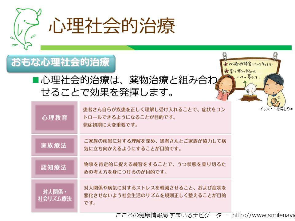 こころの健康情報局 すまいるナビゲーター http://www.smilenavigator.jp 心理社会的治療 おもな心理社会的治療 心理社会的治療は、薬物治療と組み合わ せることで効果を発揮します。 イラスト:松鳥むう ©