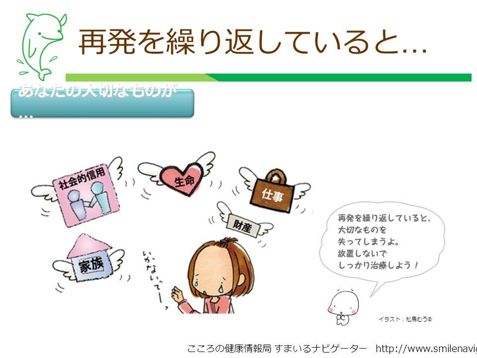 こころの健康情報局 すまいるナビゲーター http://www.smilenavigator.jp 再発を繰り返していると … あなたの大切なものが … イラスト:松鳥むう ©