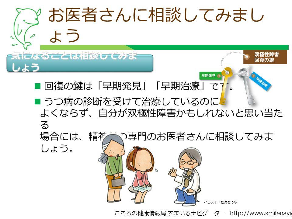 こころの健康情報局 すまいるナビゲーター http://www.smilenavigator.jp お医者さんに相談してみまし ょう 気になることは相談してみま しょう イラスト:松鳥むう © 回復の鍵は「早期発見」「早期治療」です。 うつ病の診断を受けて治療しているのに よくならず、自分が双極性障害かもしれないと思い当た る 場合には、精神科の専門のお医者さんに相談してみま しょう。