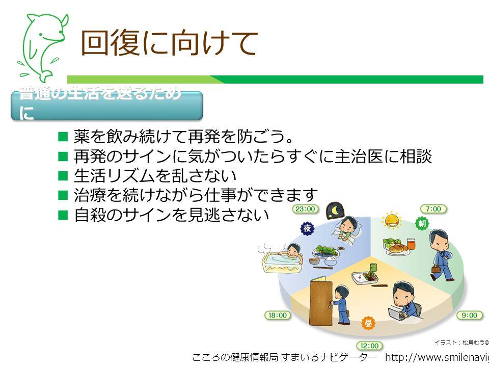 こころの健康情報局 すまいるナビゲーター http://www.smilenavigator.jp 回復に向けて 普通の生活を送るため に 薬を飲み続けて再発を防ごう。 再発のサインに気がついたらすぐに主治医に相談 生活リズムを乱さない 治療を続けながら仕事ができます 自殺のサインを見逃さない イラスト:松鳥むう ©