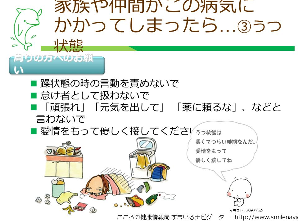 こころの健康情報局 すまいるナビゲーター http://www.smilenavigator.jp 周りの方へのお願 い 躁状態の時の言動を責めないで 怠け者として扱わないで 「頑張れ」「元気を出して」 「薬に頼るな」、などと 言わないで 愛情をもって優しく接してください 家族や仲間がこの病気に かかってしまったら … ③うつ 状態 イラスト:松鳥むう ©