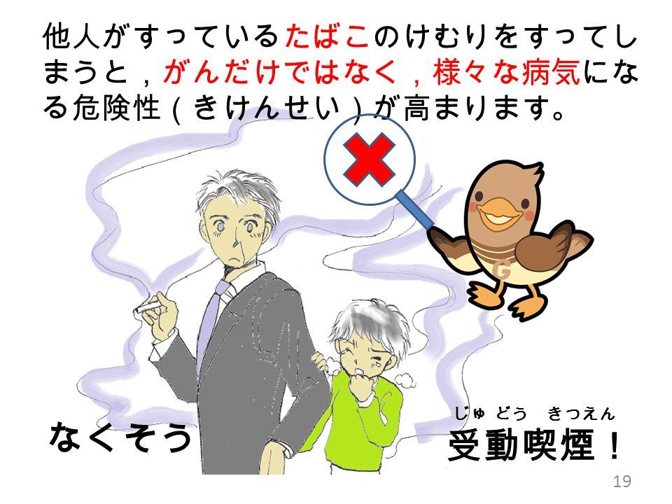 他人がすっているたばこのけむりをすってし まうと,がんだけではなく,様々な病気にな る危険性(きけんせい)が高まります。 19 じゅ どう きつえん 受動喫煙! なくそう