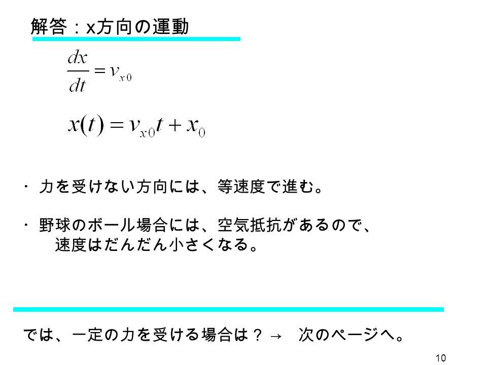 10 解答: x 方向の運動 ・力を受けない方向には、等速度で進む。 ・野球のボール場合には、空気抵抗があるので、 速度はだんだん小さくなる。 では、一定の力を受ける場合は? → 次のページへ。
