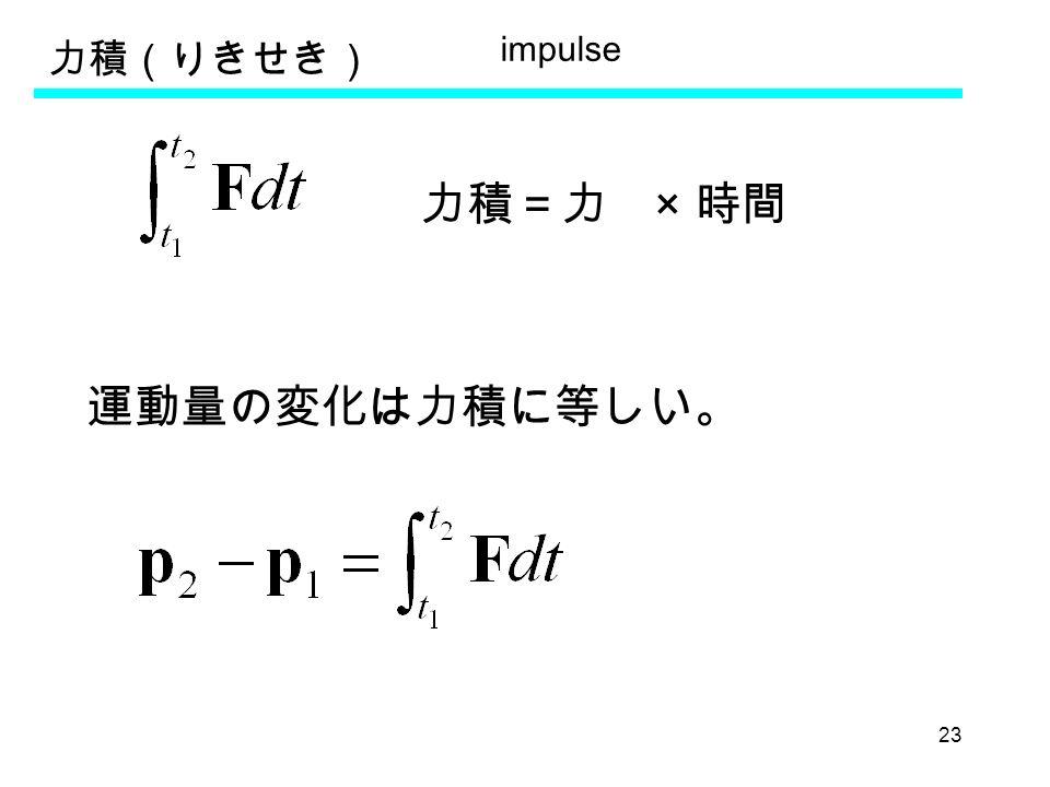 23 力積(りきせき) 力積=力 × 時間 運動量の変化は力積に等しい。 impulse