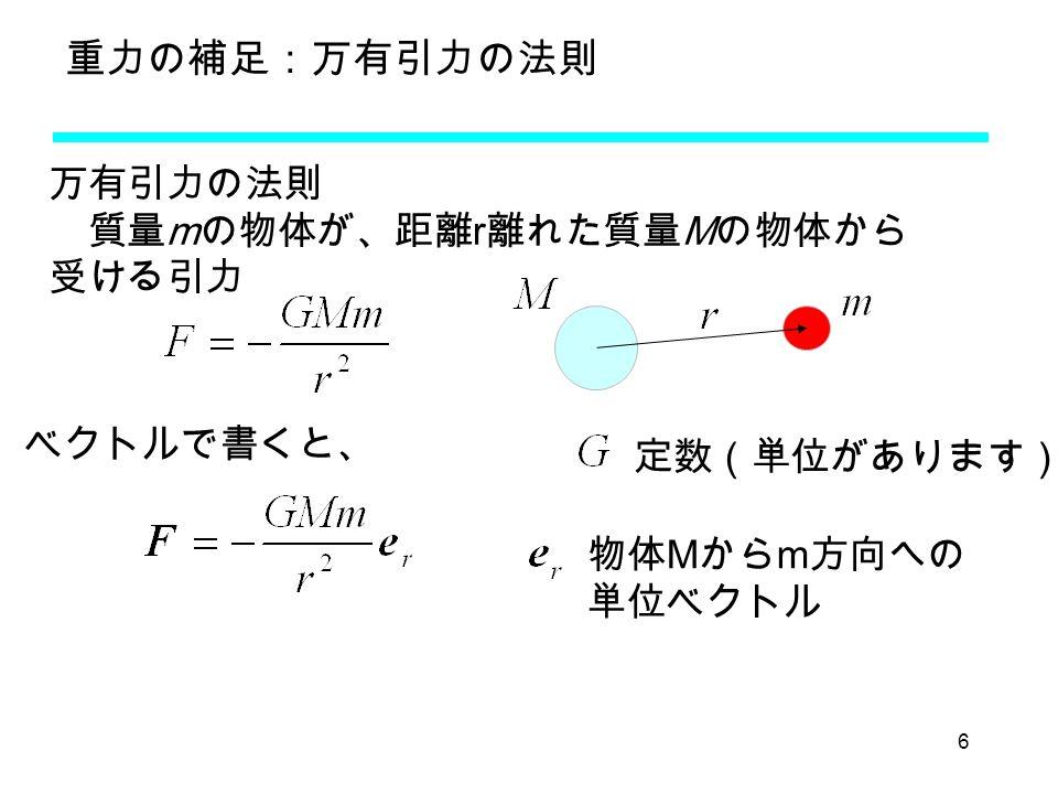 6 重力の補足:万有引力の法則 万有引力の法則 質量 m の物体が、距離 r 離れた質量 M の物体から 受ける引力 ベクトルで書くと、 物体 M から m 方向への 単位ベクトル 定数(単位があります)