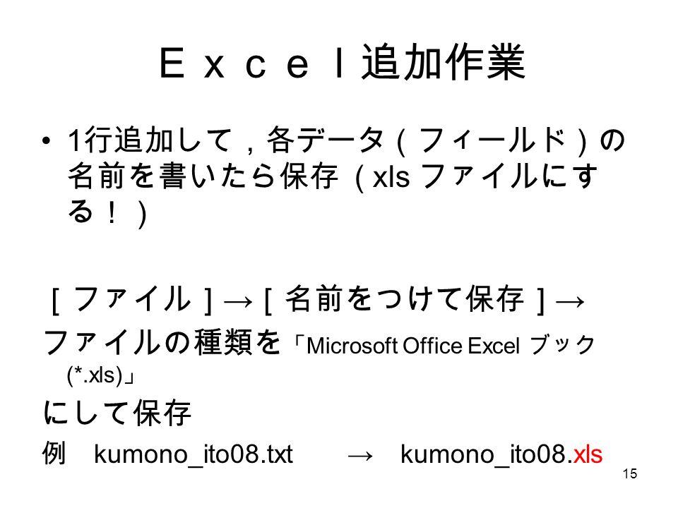 15 Excel追加作業 1 行追加して,各データ(フィールド)の 名前を書いたら保存 ( xls ファイルにす る!) [ファイル] → [名前をつけて保存] → ファイルの種類を 「 Microsoft Office Excel ブック (*.xls) 」 にして保存 例 kumono_ito08.txt → kumono_ito08.xls