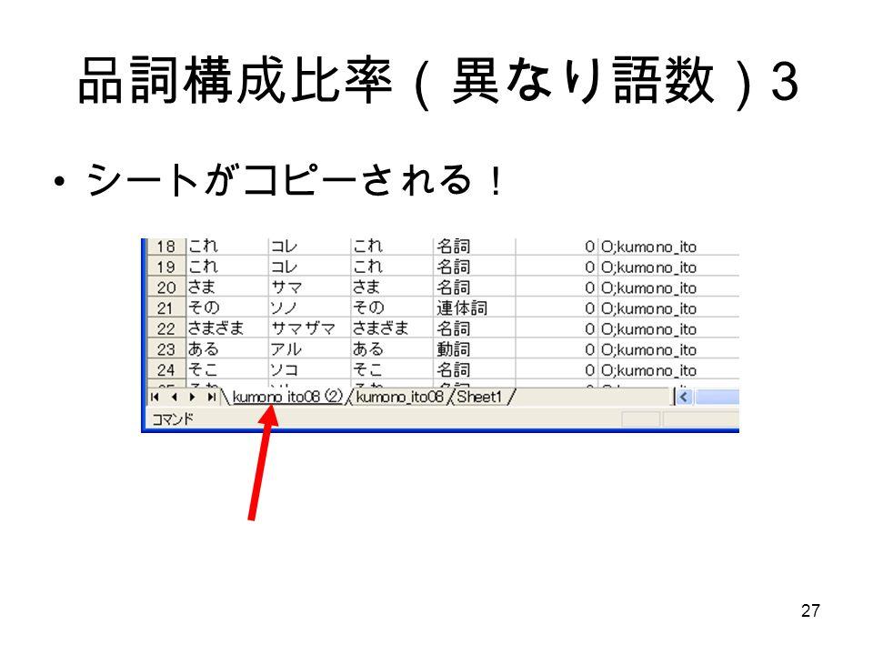 27 品詞構成比率(異なり語数) 3 シートがコピーされる!