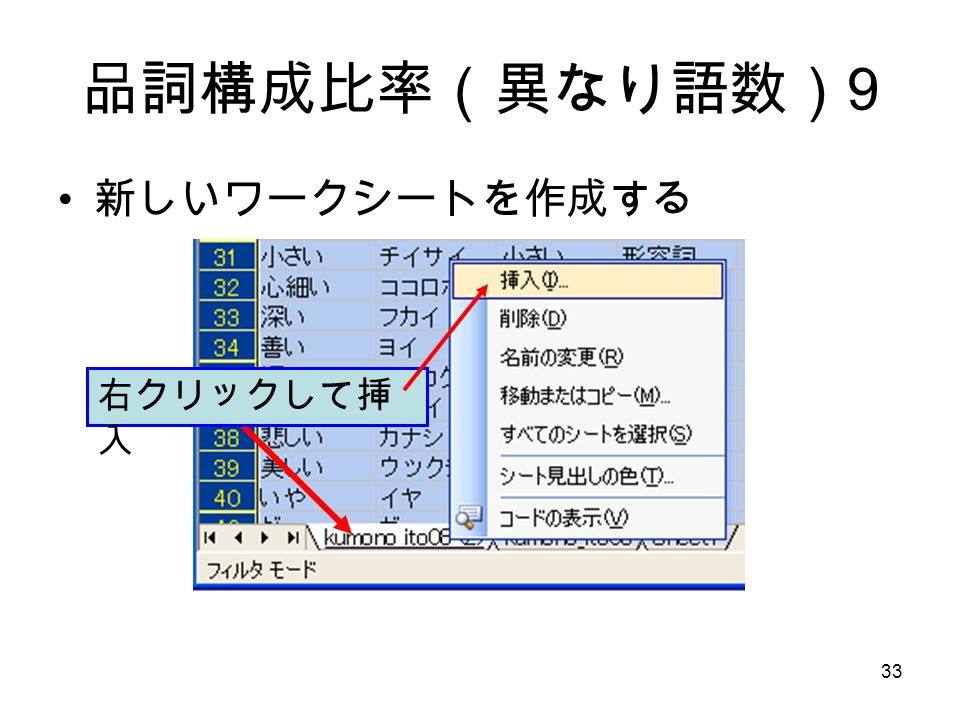 33 品詞構成比率(異なり語数) 9 新しいワークシートを作成する 右クリックして挿 入