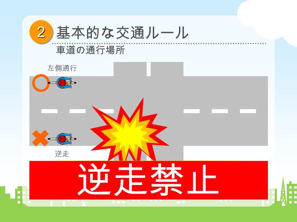 22 基本的な交通ルール 車道の通行場所 左側通行 逆走 逆走は、自動車の運転者にとって、 思いがけない方向からの飛び出しとなり、 回避のための距離も確保できず、極めて危険です。 逆走禁止