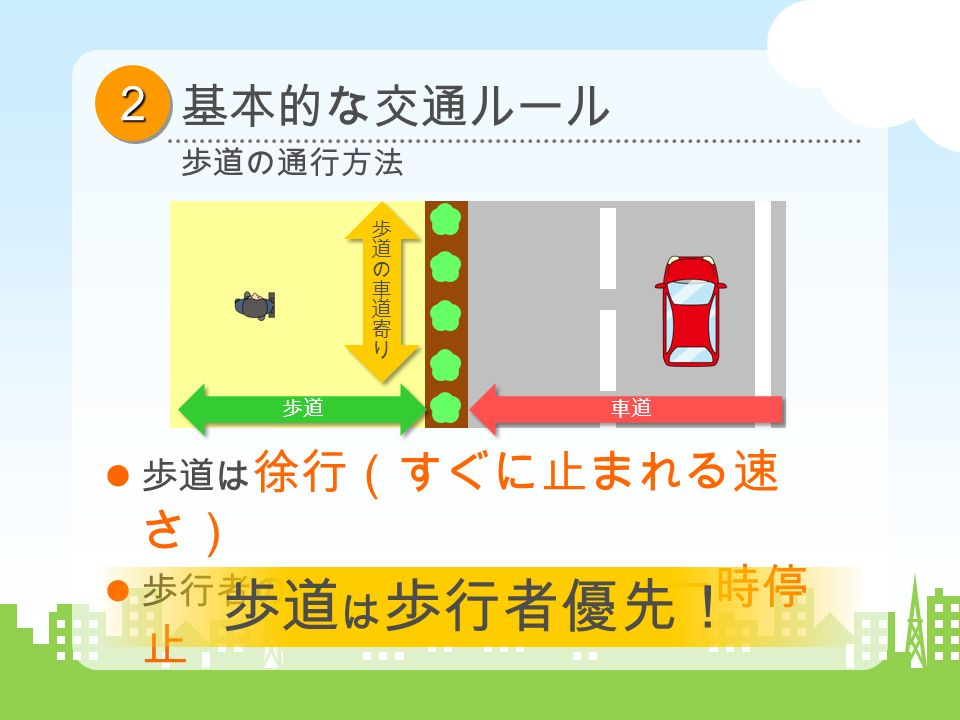 22 基本的な交通ルール 歩道の通行方法 歩道 車道 歩道は 徐行(すぐに止まれる速 さ) 歩行者の通行を妨げるときは 、 一時停 止 歩道 は 歩行者優先!