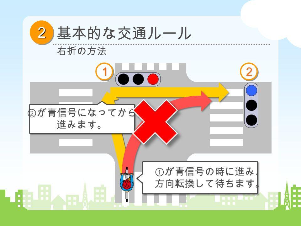 22 基本的な交通ルール 右折の方法 1122 ①が青信号の時に進み、 方向転換して待ちます。 ②が青信号になってから 進みます。
