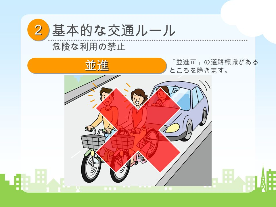 基本的な交通ルール 22 危険な利用の禁止 並進並進 「並進可」の道路標識がある ところを除きます。