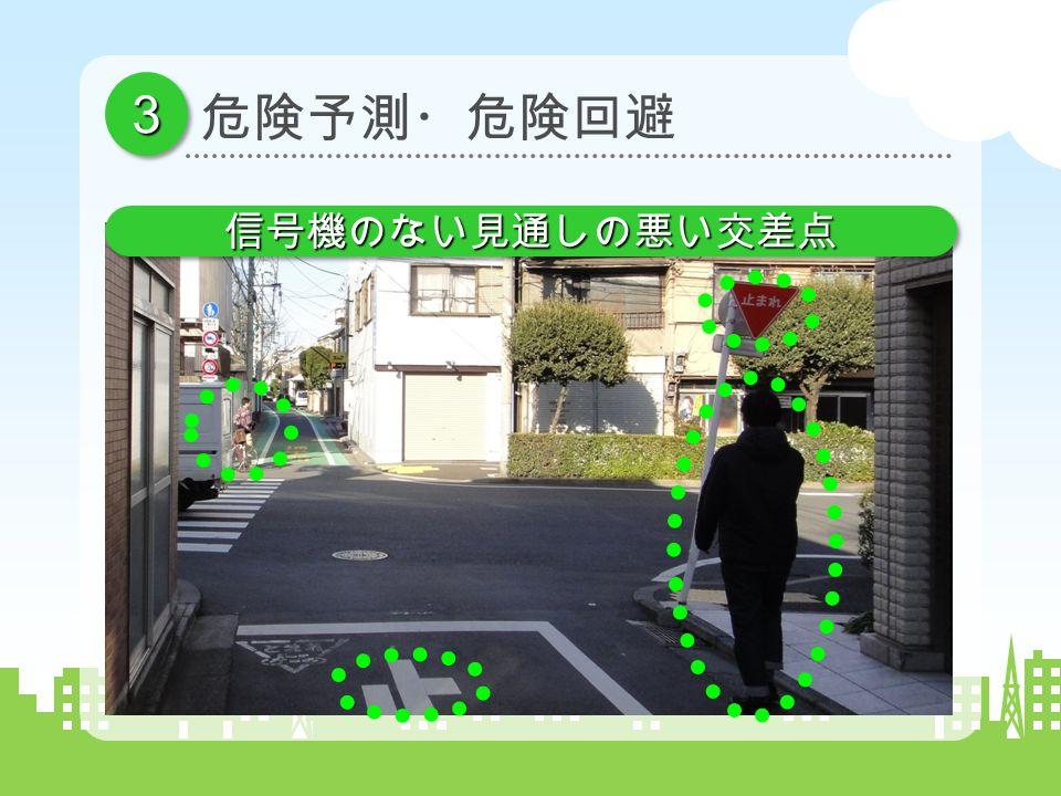 33 信号機のない見通しの悪い交差点信号機のない見通しの悪い交差点