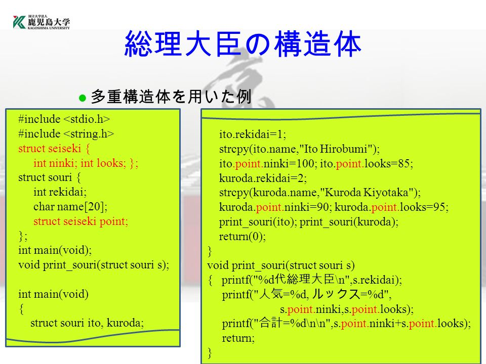 理化学研究所 総理大臣の構造体 多重構造体を用いた例 #include struct seiseki { int ninki; int looks; }; struct souri { int rekidai; char name[20]; struct seiseki point; }; int main(void); void print_souri(struct souri s); int main(void) { struct souri ito, kuroda; ito.rekidai=1; strcpy(ito.name, Ito Hirobumi ); ito.point.ninki=100; ito.point.looks=85; kuroda.rekidai=2; strcpy(kuroda.name, Kuroda Kiyotaka ); kuroda.point.ninki=90; kuroda.point.looks=95; print_souri(ito); print_souri(kuroda); return(0); } void print_souri(struct souri s) { printf( %d 代総理大臣 \n ,s.rekidai); printf( 人気 =%d, ルックス =%d , s.point.ninki,s.point.looks); printf( 合計 =%d\n\n ,s.point.ninki+s.point.looks); return; }