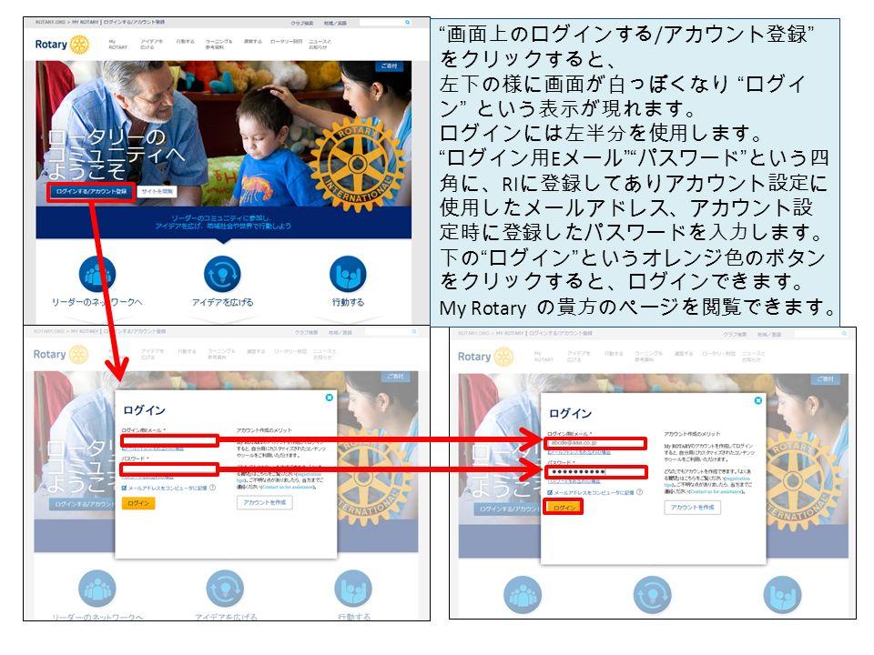 画面上のログインする / アカウント登録 をクリックすると、 左下の様に画面が白っぽくなり ログイ ン という表示が現れます。 ログインには左半分を使用します。 ログイン用 E メール パスワード という四 角に、 RI に登録してありアカウント設定に 使用したメールアドレス、アカウント設 定時に登録したパスワードを入力します。 下の ログイン というオレンジ色のボタン をクリックすると、ログインできます。 My Rotary の貴方のページを閲覧できます。